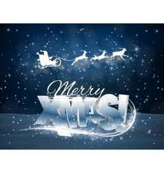 reindeer and Santa Claus on blue background vector image vector image