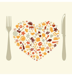 Restaurant Design In Form Of Heart vector image
