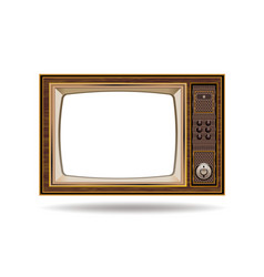 retro old vintage television on white background vector image vector image