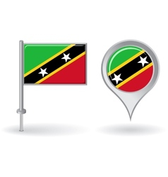 Saint Kitts and Nevis pin icon map pointer flag vector image vector image