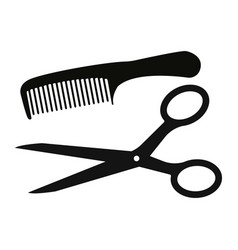 scissors and comb icon isolated on white vector image vector image