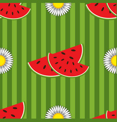 seamless pattern of red watermelon slices vector image vector image