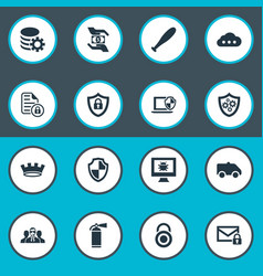 set of simple security icons vector image vector image