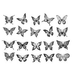 Set of twenty butterflies vector image vector image