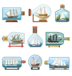 Ship in bottle boat in miniature sailboat vector