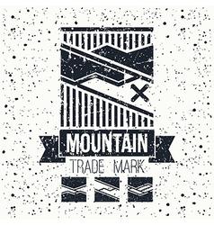 Snowboard winter mountains emblem vector image