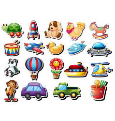 stickers set with different toys vector image vector image