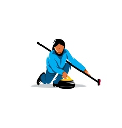 The game of curling sign vector