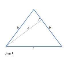 The task of finding the height of an isosceles vector