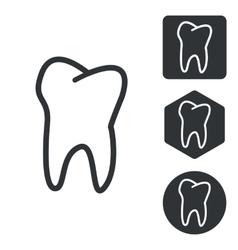 Tooth icon set monochrome vector