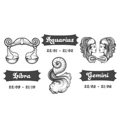 zodiac signs of libra aquarius and gemini vector image