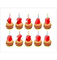 Burger and birthday candles numbers set holiday vector