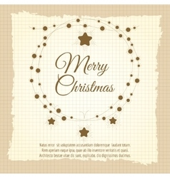 Vintage christmas wreath and lettering vector image