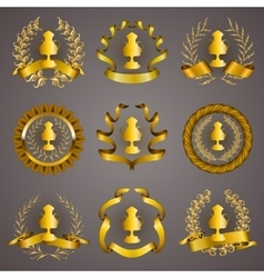 Set of luxury gold cups vector