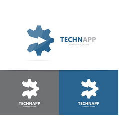 Gear and arrow up logo combination vector