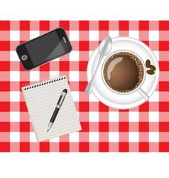 Telephone coffee and a notebook vector