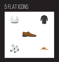 Flat icon clothes set of brasserie foot textile vector