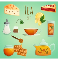 Tea decorative set vector