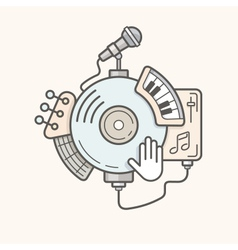 Music line icon vector