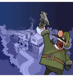 Cartoon soldier shouting aiming a pistol vector
