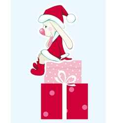 Rabbit - santa claus with gifts vector