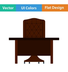 Flat design icon of table and armchair vector