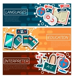 Set of horizontal banners about languages vector
