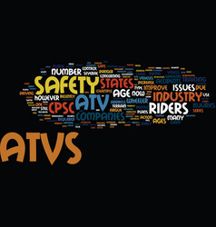 Atv safety issues text background word cloud vector