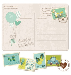 baby boy arrival postcard with set of stamps vector image