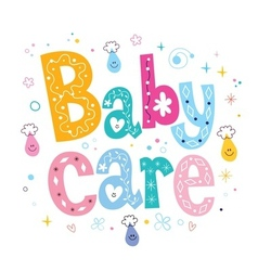 Baby care decorative lettering type design vector