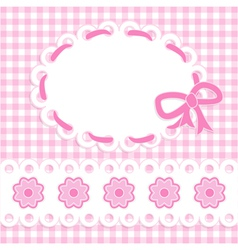 baby girl card with stripes and flowers vector image