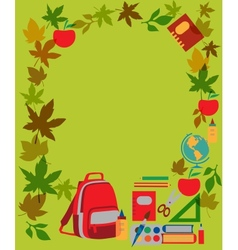Back to school School supplies on green vector image vector image
