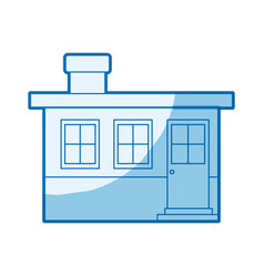 Blue shading silhouette small house facade with vector