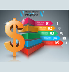 Business infographics dollar money icon vector