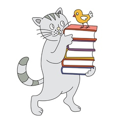 Cat and book vector