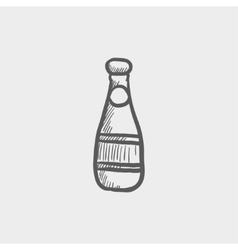 Champagne bottle sketch icon vector