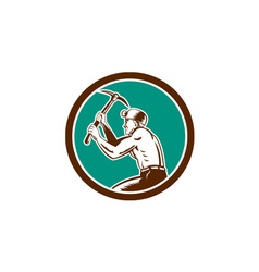 Coal miner with pick axe circle retro vector