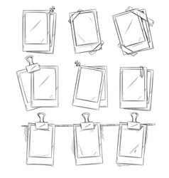 doodle retro photo frames vintage album vector image