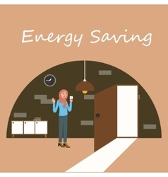energy saving electricity switch off lamp turnght vector image vector image