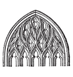 Flamboyant tracery gothic architecture vintage vector