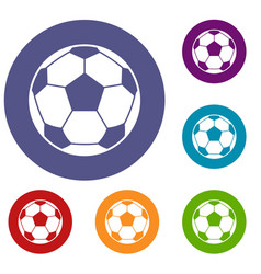 Football soccer ball icons set vector