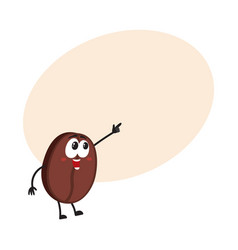 Funny smiling coffee bean character pointing vector
