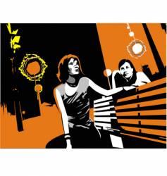 girls in city vector image vector image