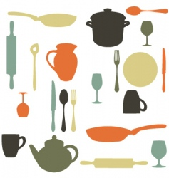 kitchen items vector image vector image