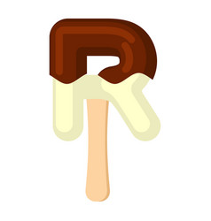 Letter r ice cream font popsicle alphabet cold vector