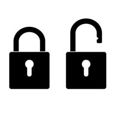 Locked and unlocked padlock vector