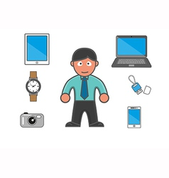 Man and equipments modern vector image