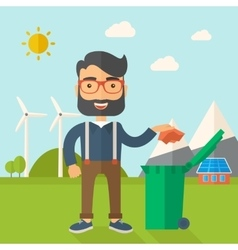 Man throwing paper in a garbage bin vector