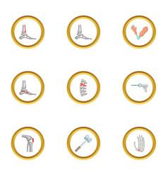 orthopedic disease icons set cartoon style vector image