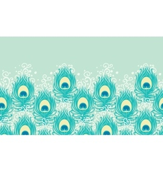 Peacock feathers horizontal seamless pattern vector image